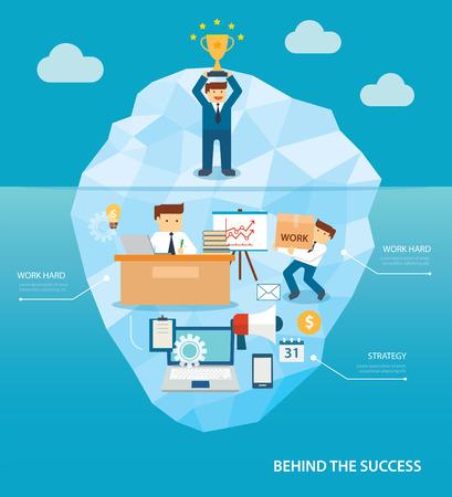 design concept: behind business success flat design Illustration
