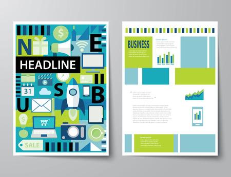 headline startup set of magazine cover , flyer, brochure flat design templates Illustration