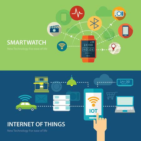 wifi internet: conceptos para reloj inteligente e internet de las cosas de dise�o plana