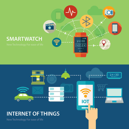 wireless internet: concepts for smart watch and internet of things flat design
