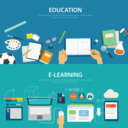 concepts of education and e-learning flat design