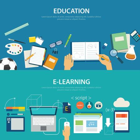 escuela: conceptos de educación y de e-learning diseño plano