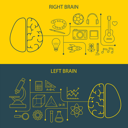 right side: left and right brain functions concept Illustration