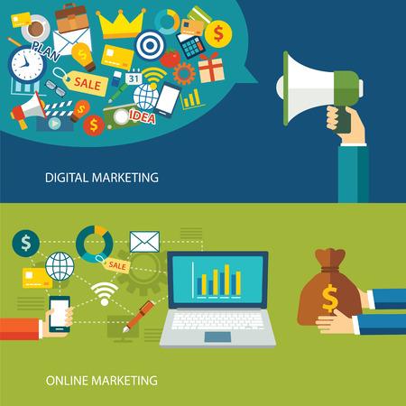 디지털: 디지털 마케팅과 온라인 마케팅 평면 설계 일러스트