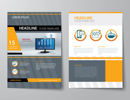magazine layout design template: set of business magazine cover , flyer, brochure flat design templates
