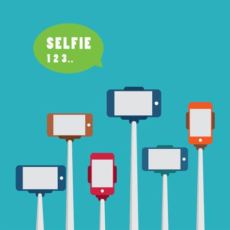 taking: taking a selfie photo with monopod flat design