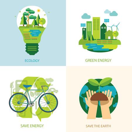 世界とクリーン エネルギー概念を保存します。  イラスト・ベクター素材