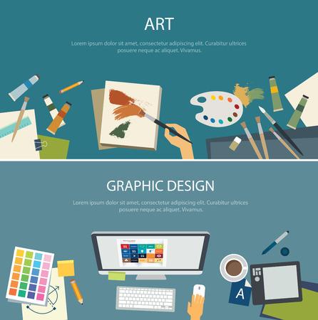 美術教育とグラフィック デザイン web バナー フラット デザインします。  イラスト・ベクター素材