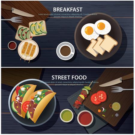huevos fritos: el desayuno y la calle la bandera del alimento Vectores