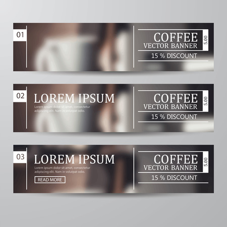 set of banner coffee