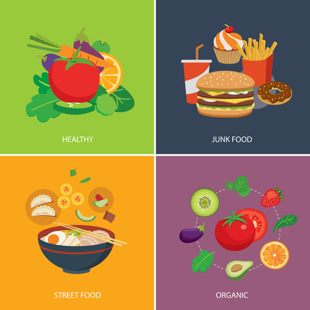 junks: set of flat design concept  for food