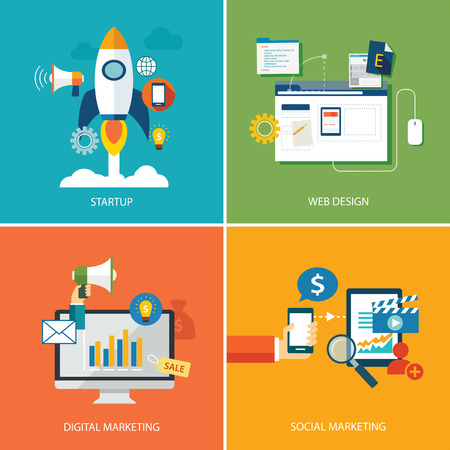 set of digital marketing,startup, web design and social marketing Vectores