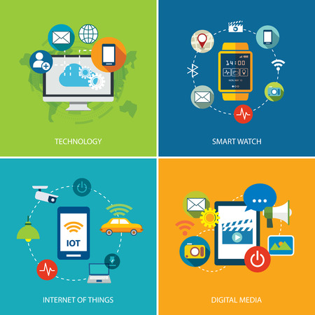 symbols of internet: set of  technology,internet of things, and digital media