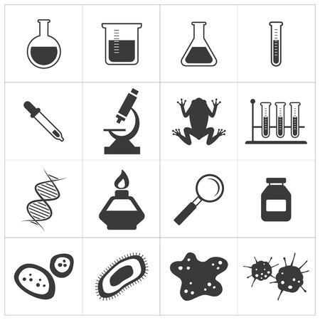 biology: chemistry and biology icon set Illustration