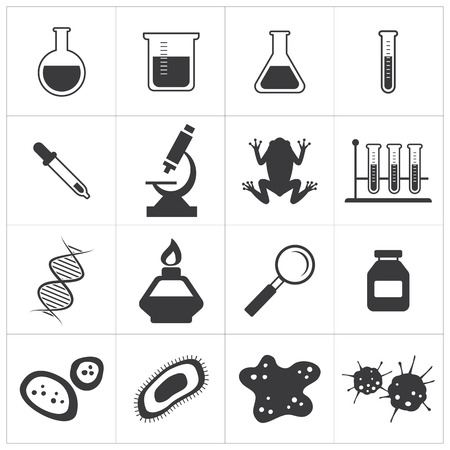 chemistry and biology icon set Illustration