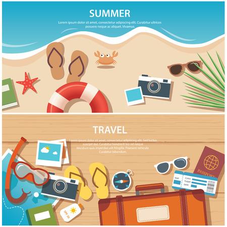 夏と旅行のフラット バナー テンプレート