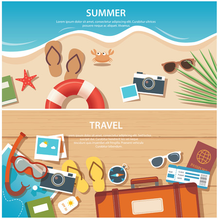 plan: verano y los viajes a la plantilla de banner plana Vectores