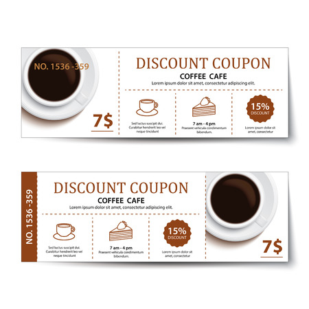 coffee coupon discount  template design. 矢量图像