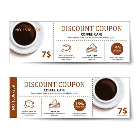 Kaffee Coupon Rabatt Template-Design. Illustration