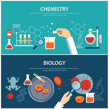 qu�mica: la qu�mica y la biolog�a concepto de educaci�n Vectores