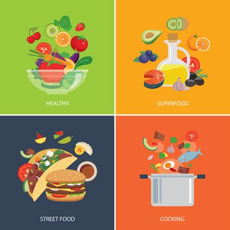 ensalada de verduras: conjunto de concepto de dise�o plano para la comida