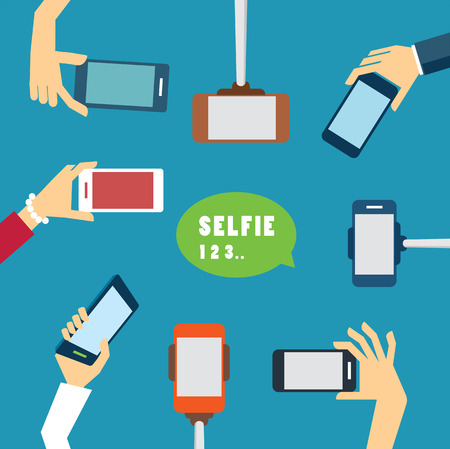 mobile phone: taking a selfie photo flat design Illustration