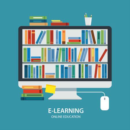 en ligne bibliothèque concept de l'éducation design plat Vecteurs