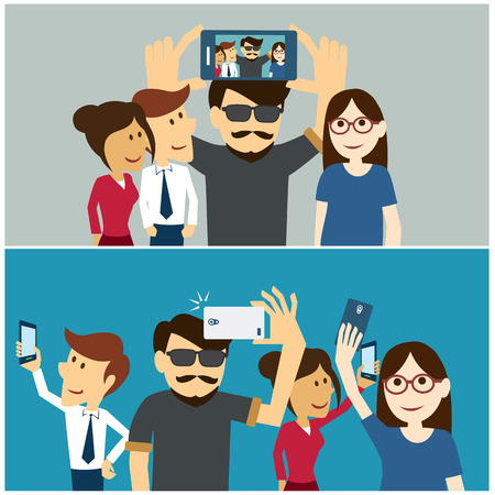 friends fun: taking a selfie photo flat design Illustration