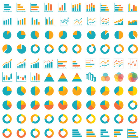 100 graph and chart infographic icon flat design