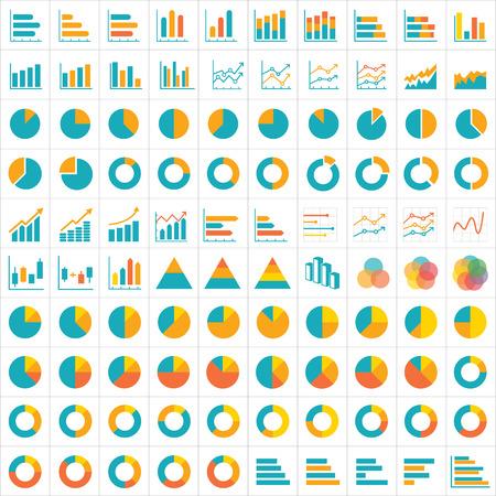 grafica de pastel: 100 icono gráfico y tabla de infografía diseño plano