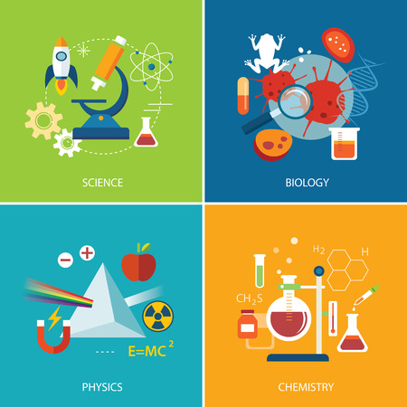 experimento: concepto de la ciencia, la física, la química, la biología diseño plano Vectores