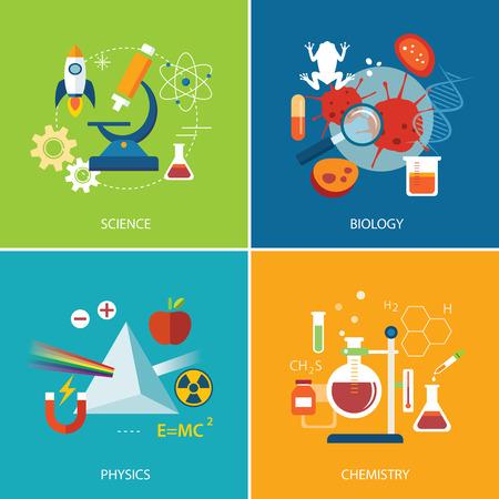 wetenschap concept, natuurkunde, scheikunde, biologie platte ontwerp Stock Illustratie
