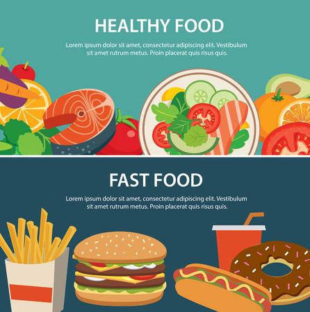 alimentos saludables: comida sana y rápida bandera concepto de alimentos diseño plano