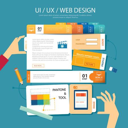 concepteur web: conception de sites Web, ui, ux, le concept de design plat filaire Illustration