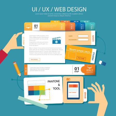 navigation buttons: web design,ui ,ux, wireframe concept flat design