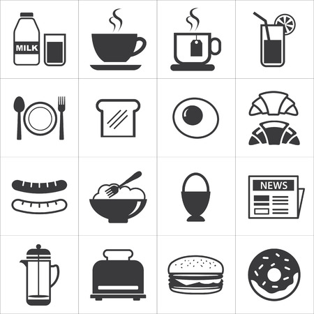 comiendo pan: conjunto de icono de desayuno