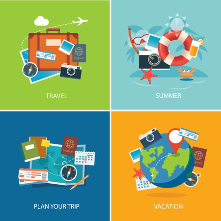 flyer background: set of summer and travel flat design banner template
