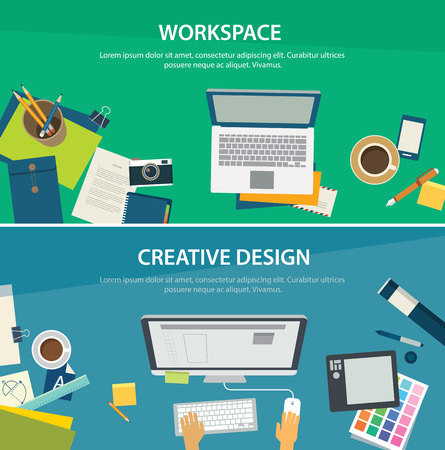interior designer: workspace and creative design banner template Illustration