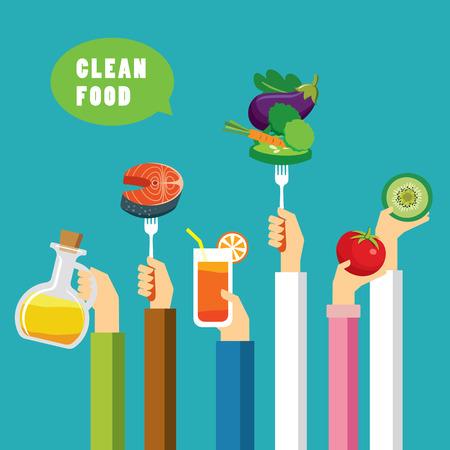 higiene: concepto de la comida limpia diseño plano