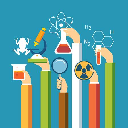 科学概念、物理学、化学、生物学のフラット デザイン