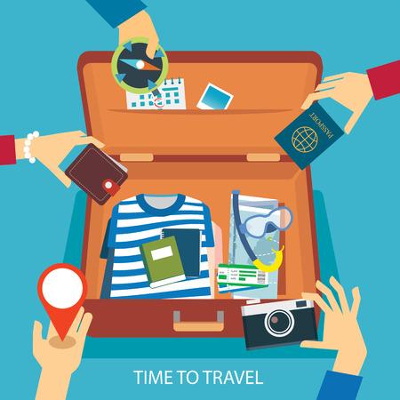 bag: time to travel concept flat design Illustration