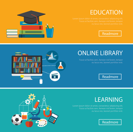 digital library: flat design concept for education ,online library, learning Illustration