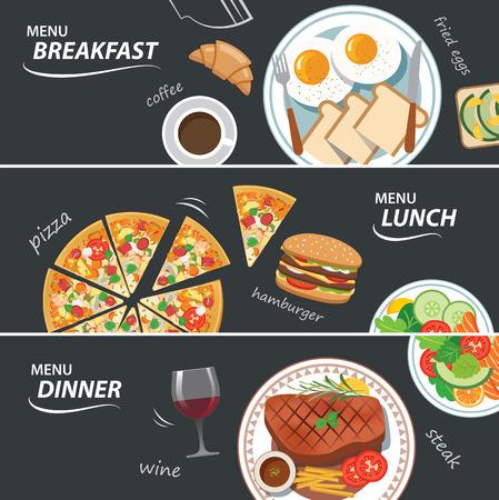 Satz von Frühstück, Mittag- und Abendessen Web-Banner Standard-Bild - 41817770