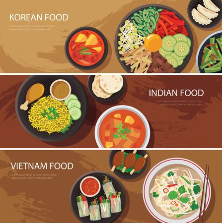 アジアのストリート食品 web バナー、韓国料理、インド料理、ベトナム料理フラットなデザイン
