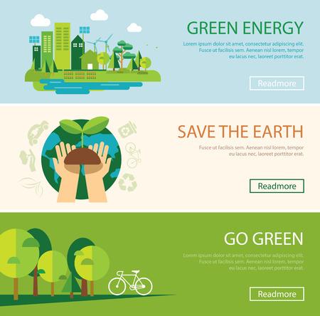grün: die Welt zu retten und grüne Energie-Konzept Web-Banner