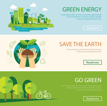 go green icons: save the world and green energy concept web banner