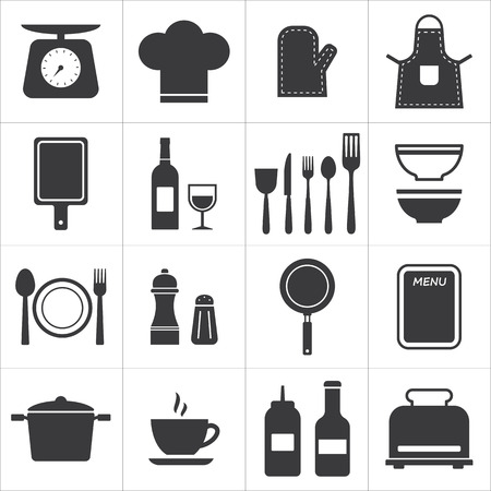 icon set kitchen and cooking