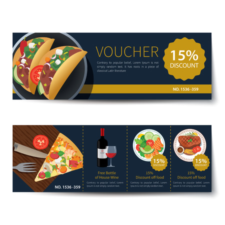 discount card: set of food voucher discount template design