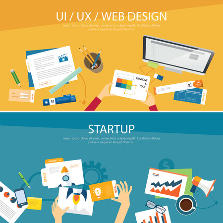 web design banner: web design and startup concept flat design Illustration