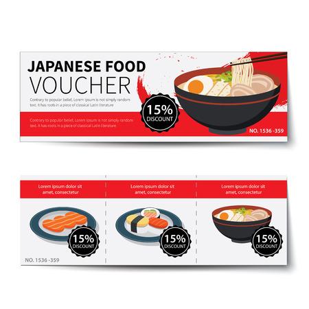 japanese food voucher discount  template design Ilustrace